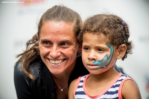 August 21, 2016, New Haven, Connecticut: Roberta Vinci of Italy poses with a fan during WTA All-Access Hour on Day 3 of the 2016 Connecticut Open at the Yale University Tennis Center on Sunday, August 21, 2016 in New Haven, Connecticut. (Photo by Billie Weiss/Connecticut Open)