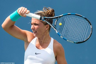 August 21, 2016, New Haven, Connecticut: Sara Errani of Italy in action during Day 3 of the 2016 Connecticut Open at the Yale University Tennis Center on Sunday, August 21, 2016 in New Haven, Connecticut. (Photo by Billie Weiss/Connecticut Open)