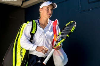 August 22, 2016, New Haven, Connecticut: Caroline Wozniacki of Denmark waits in the tunnel before a match a match on Day 4 of the 2016 Connecticut Open at the Yale University Tennis Center on Monday August 22, 2016 in New Haven, Connecticut. (Photo by Billie Weiss/Connecticut Open)