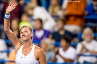 August 22, 2016, New Haven, Connecticut: Petra Kvitova of the Czech Republic reacts after defeating Louisa Chirico of the United States during a match a match on Day 4 of the 2016 Connecticut Open at the Yale University Tennis Center on Monday August 22, 2016 in New Haven, Connecticut. (Photo by Billie Weiss/Connecticut Open)
