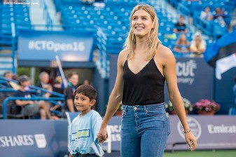 August 22, 2016, New Haven, Connecticut: Eugenie Bouchard of Canada is introduced during the Opening Ceremonies on Day 4 of the 2016 Connecticut Open at the Yale University Tennis Center on Monday August 22, 2016 in New Haven, Connecticut. (Photo by Billie Weiss/Connecticut Open)