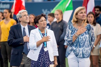 August 22, 2016, New Haven, Connecticut: Tournament Director Anne Worcester looks on alongside New Haven Mayor Toni Harp and Yale University President Peter Salovey during the Opening Ceremonies on Day 4 of the 2016 Connecticut Open at the Yale University Tennis Center on Monday August 22, 2016 in New Haven, Connecticut. (Photo by Billie Weiss/Connecticut Open)