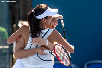 August 23, 2016, New Haven, Connecticut: Andrea Petkovic of Germany and Su-Wei Hsieh of Taipei of Russia react after winning a match on Day 5 of the 2016 Connecticut Open at the Yale University Tennis Center on Tuesday, August 23, 2016 in New Haven, Connecticut. (Photo by Billie Weiss/Connecticut Open)