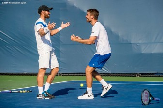 August 24, 2016, New Haven, Connecticut: Nicolas Meister and Eric Quigley react after winning the US Open National Playoffs men's doubles finals on Day 6 of the 2016 Connecticut Open at the Yale University Tennis Center on Wednesday, August 24, 2016 in New Haven, Connecticut. (Photo by Billie Weiss/Connecticut Open)
