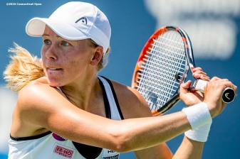 August 24, 2016, New Haven, Connecticut: Johanna Larsson of Sweden in action during Day 6 of the 2016 Connecticut Open at the Yale University Tennis Center on Wednesday, August 24, 2016 in New Haven, Connecticut. (Photo by Billie Weiss/Connecticut Open)
