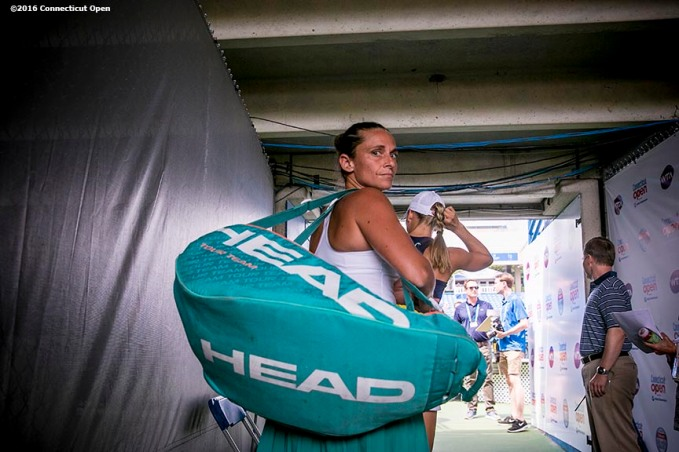 August 25, 2016, New Haven, Connecticut: Roberta Vinci of Italy looks on as she waits in the tunnel before playing Johanna Larsson of Sweden during Day 7 of the 2016 Connecticut Open at the Yale University Tennis Center on Thursday, August 25, 2016 in New Haven, Connecticut. (Photo by Billie Weiss/Connecticut Open)