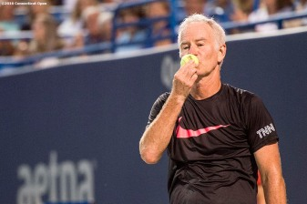 August 25, 2016, New Haven, Connecticut: John McEnroe in action during the Men's Legends Event on Day 7 of the 2016 Connecticut Open at the Yale University Tennis Center on Thursday, August 25, 2016 in New Haven, Connecticut. (Photo by Billie Weiss/Connecticut Open)
