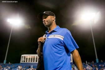 August 25, 2016, New Haven, Connecticut: James Blake is introduced during the Men's Legends Event on Day 7 of the 2016 Connecticut Open at the Yale University Tennis Center on Thursday, August 25, 2016 in New Haven, Connecticut. (Photo by Billie Weiss/Connecticut Open)