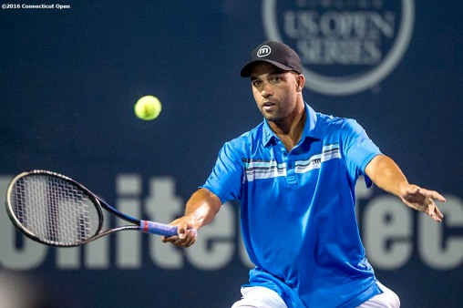 August 25, 2016, New Haven, Connecticut: James Blake in action during the Men's Legends Event on Day 7 of the 2016 Connecticut Open at the Yale University Tennis Center on Thursday, August 25, 2016 in New Haven, Connecticut. (Photo by Billie Weiss/Connecticut Open)