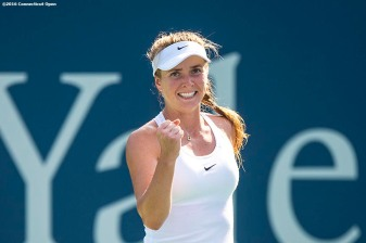 August 25, 2016, New Haven, Connecticut: Elina Svitolina of Ukraine reacts after defeating Elena Vesnina of Russia during Day 7 of the 2016 Connecticut Open at the Yale University Tennis Center on Thursday, August 25, 2016 in New Haven, Connecticut. (Photo by Billie Weiss/Connecticut Open)