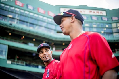 BOSTON, MA - AUGUST 26: Xander Bogaerts #2 and Marco Hernandez #41 of the Boston Red Sox talk before of a game against the Kansas City Royals on August 26, 2016 at Fenway Park in Boston, Massachusetts. (Photo by Billie Weiss/Boston Red Sox/Getty Images) *** Local Caption *** Xander Bogaerts; Marco Hernandez