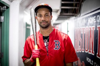 BOSTON, MA - AUGUST 26: Chris Young #30 of the Boston Red Sox poses for a portrait before of a game against the Kansas City Royals on August 26, 2016 at Fenway Park in Boston, Massachusetts. (Photo by Billie Weiss/Boston Red Sox/Getty Images) *** Local Caption *** Chris Young