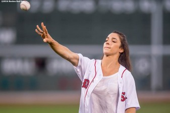 BOSTON, MA - AUGUST 26: Olympic gymnast Aly Raisman throws out a ceremonial first pitch before a game against the Kansas City Royals on August 26, 2016 at Fenway Park in Boston, Massachusetts. (Photo by Billie Weiss/Boston Red Sox/Getty Images) *** Local Caption *** Aly Raisman
