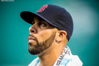 BOSTON, MA - AUGUST 27: David Price #24 of the Boston Red Sox looks on before a game against the Kansas City Royals on August 27, 2016 at Fenway Park in Boston, Massachusetts. (Photo by Billie Weiss/Boston Red Sox/Getty Images) *** Local Caption *** David Price