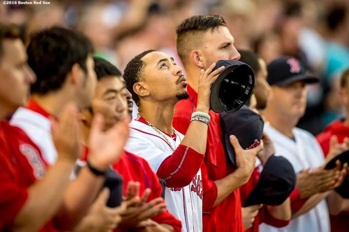 BOSTON, MA - AUGUST 27: Mookie Betts #50 of the Boston Red Sox reacts before a game against the Kansas City Royals on August 27, 2016 at Fenway Park in Boston, Massachusetts. (Photo by Billie Weiss/Boston Red Sox/Getty Images) *** Local Caption *** Mookie Betts