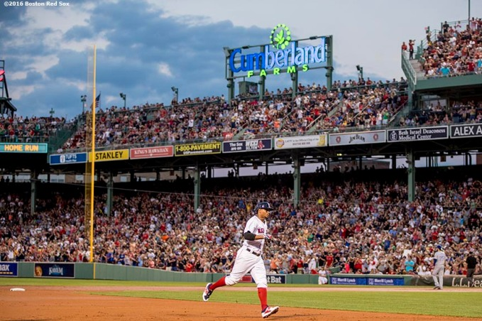 BOSTON, MA - AUGUST 27: Xander Bogaerts #2 of the Boston Red Sox rounds the bases after hitting a two run home run during the first inning of a game against the Kansas City Royals on August 27, 2016 at Fenway Park in Boston, Massachusetts. (Photo by Billie Weiss/Boston Red Sox/Getty Images) *** Local Caption *** Xander Bogaerts