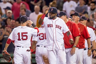 BOSTON, MA - AUGUST 27: Dustin Pedroia #15 and David Ortiz #34 of the Boston Red Sox celebrate a victory against the Kansas City Royals on August 27, 2016 at Fenway Park in Boston, Massachusetts. (Photo by Billie Weiss/Boston Red Sox/Getty Images) *** Local Caption *** Dustin Pedroia; David Ortiz