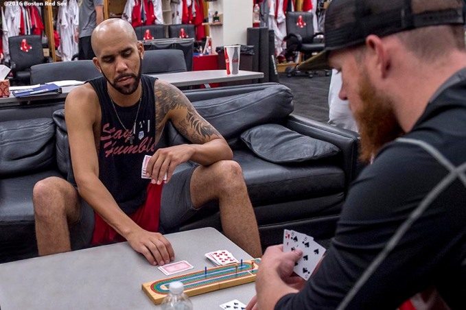 August 28, 2016, Boston, MA: Boston Red Sox pitchers David Price and Craig Kimbrel play cribbage in the clubhouse at Fenway Park in Boston, Massachusetts Sunday, August 28, 2016. NOTE: THIS IMAGE HAS BEEN PHOTOSHOPPED. DO NOT SEND TO PUBLICATIONS. (Photo by Billie Weiss/Boston Red Sox)