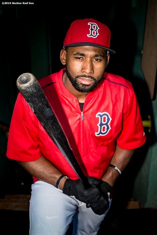 BOSTON, MA - AUGUST 28: Jackie Bradley Jr. #25 of the Boston Red Sox poses for a portrait before a game against the Kansas City Royals on August 28, 2016 at Fenway Park in Boston, Massachusetts. (Photo by Billie Weiss/Boston Red Sox/Getty Images) *** Local Caption *** Jackie Bradley Jr.