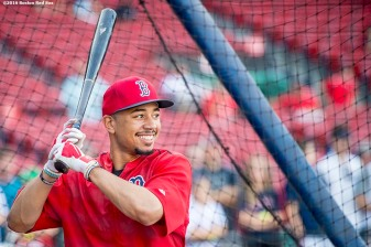 BOSTON, MA - AUGUST 28: Mookie Betts #50 of the Boston Red Sox takes batting practice before a game against the Kansas City Royals on August 28, 2016 at Fenway Park in Boston, Massachusetts. (Photo by Billie Weiss/Boston Red Sox/Getty Images) *** Local Caption *** Mookie Betts