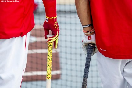 BOSTON, MA - AUGUST 28: David Ortiz #34 and Mookie Betts #50 of the Boston Red Sox take batting practice before a game against the Kansas City Royals on August 28, 2016 at Fenway Park in Boston, Massachusetts. (Photo by Billie Weiss/Boston Red Sox/Getty Images) *** Local Caption *** David Ortiz; Mookie Betts
