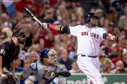 BOSTON, MA - AUGUST 28: David Ortiz #34 of the Boston Red Sox hits a solo home run during the fourth inning of a game against the Kansas City Royals on August 28, 2016 at Fenway Park in Boston, Massachusetts. (Photo by Billie Weiss/Boston Red Sox/Getty Images) *** Local Caption *** David Ortiz