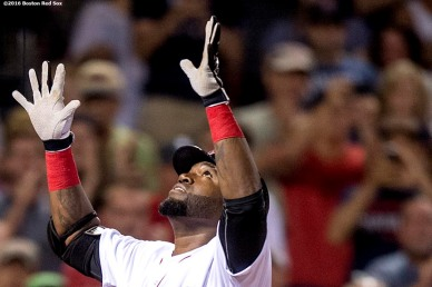 BOSTON, MA - AUGUST 28: David Ortiz #34 of the Boston Red Sox reacts after hitting a solo home run during the fourth inning of a game against the Kansas City Royals on August 28, 2016 at Fenway Park in Boston, Massachusetts. (Photo by Billie Weiss/Boston Red Sox/Getty Images) *** Local Caption *** David Ortiz