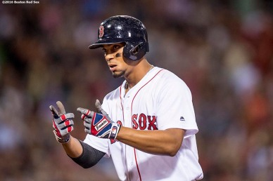 BOSTON, MA - AUGUST 28: Xander Bogaerts #2 of the Boston Red Sox hits an RBI single during the fifth inning of a game against the Kansas City Royals on August 28, 2016 at Fenway Park in Boston, Massachusetts. (Photo by Billie Weiss/Boston Red Sox/Getty Images) *** Local Caption *** Xander Bogaerts