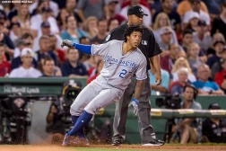 BOSTON, MA - AUGUST 28: Raul Mondesi #27 pulls up at third base after hitting a go-ahead RBI triple during the sixth inning of a game against the Boston Red Sox on August 28, 2016 at Fenway Park in Boston, Massachusetts. (Photo by Billie Weiss/Boston Red Sox/Getty Images) *** Local Caption *** Raul Mondesi