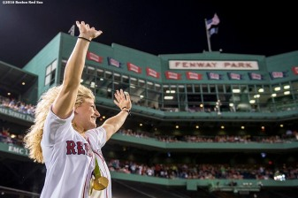 BOSTON, MA - AUGUST 28: Olympic gold medal Judo fighter Kayla Harrison is introduced before throwing out a ceremonial first pitch before a game between the Boston Red Sox and the Kansas City Royals on August 28, 2016 at Fenway Park in Boston, Massachusetts. (Photo by Billie Weiss/Boston Red Sox/Getty Images) *** Local Caption *** Kayla Harrison