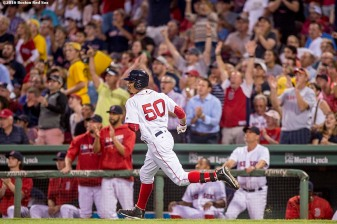 BOSTON, MA - AUGUST 29: Mookie Betts #50 of the Boston Red Sox rounds the bases after hitting a solo home run during the second inning of a game against the Tampa Bay Rays on August 29, 2016 at Fenway Park in Boston, Massachusetts. (Photo by Billie Weiss/Boston Red Sox/Getty Images) *** Local Caption *** Mookie Betts