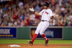 BOSTON, MA - AUGUST 29: Chris Young #30 of the Boston Red Sox reacts after hitting an RBI double during the fourth inning of a game against the Tampa Bay Rays on August 29, 2016 at Fenway Park in Boston, Massachusetts. (Photo by Billie Weiss/Boston Red Sox/Getty Images) *** Local Caption *** Chris Young