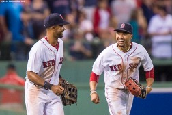 BOSTON, MA - AUGUST 29: Chris Young #30 and Mookie Betts #50 of the Boston Red Sox celebrate a victory against the Tampa Bay Rays on August 29, 2016 at Fenway Park in Boston, Massachusetts. (Photo by Billie Weiss/Boston Red Sox/Getty Images) *** Local Caption *** Chris Young; Mookie Betts