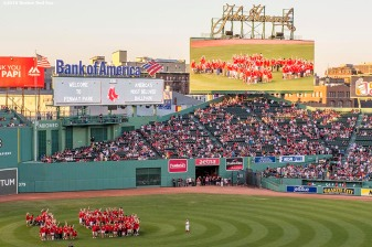 BOSTON, MA - AUGUST 29: Jimmy Fund patients form the number 15 in the outfield to honor the fifteenth year of the Jimmy Fund Telethon before a game between the Boston Red Sox and the Tampa Bay Rays on August 29, 2016 at Fenway Park in Boston, Massachusetts. (Photo by Billie Weiss/Boston Red Sox/Getty Images) *** Local Caption ***