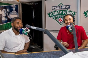 August 30, 2016, Boston, MA: Boston Red Sox center fielder Jackie Bradley Jr. and right fielder Mookie Betts speak in the radio booth during the 2016 WEEI-NESN Jimmy Fund Radio Telethon at Fenway Park in Boston, Massachusetts Tuesday, August 30, 2016. (Photo by Billie Weiss/Boston Red Sox)