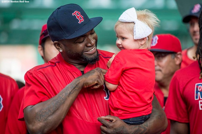 August 30, 2016, Boston, MA: Boston Red Sox designated hitter David Ortiz reacts with Jimmy Fund patient Olivia Steiner during the 2016 WEEI-NESN Jimmy Fund Radio Telethon at Fenway Park in Boston, Massachusetts Tuesday, August 30, 2016. (Photo by Billie Weiss/Boston Red Sox)
