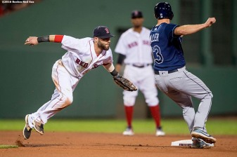 BOSTON, MA - AUGUST 30: Dustin Pedroia #15 of the Boston Red Sox attempts to tag Brad Miller #13 of the Tampa Bay Rays during the fourth inning of a game on August 30, 2016 at Fenway Park in Boston, Massachusetts. (Photo by Billie Weiss/Boston Red Sox/Getty Images) *** Local Caption *** Dustin Pedroia; Brad Miller