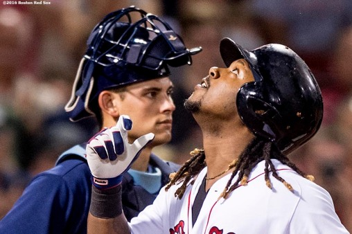 BOSTON, MA - AUGUST 30: Hanley Ramirez #13 of the Boston Red Sox reacts in front of Luke Maile #46 of the Tampa Bay Rays after hitting a solo home run during the fifth inning of a game on August 30, 2016 at Fenway Park in Boston, Massachusetts. (Photo by Billie Weiss/Boston Red Sox/Getty Images) *** Local Caption *** Hanley Ramirez; Luke Maile
