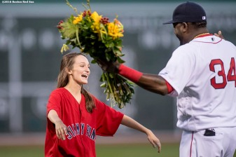 BOSTON, MA - AUGUST 30: Former Jimmy Fund patient Amber DaRosa reacts with David Ortiz #34 of the Boston Red Sox before throwing out the ceremonial first pitch before a game against the Tampa Bay Rays on August 30, 2016 at Fenway Park in Boston, Massachusetts. (Photo by Billie Weiss/Boston Red Sox/Getty Images) *** Local Caption *** Amber DaRosa; David Ortiz