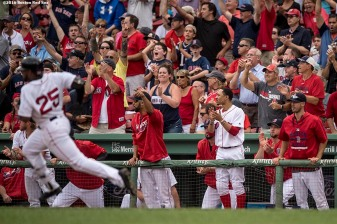 BOSTON, MA - AUGUST 31: Teammates react as Jackie Bradley Jr. #25 of the Boston Red Sox rounds first base after hitting an RBI double during the eighth inning of game against the Tampa Bay Rays on August 31, 2016 at Fenway Park in Boston, Massachusetts. (Photo by Billie Weiss/Boston Red Sox/Getty Images) *** Local Caption *** Jackie Bradley Jr.