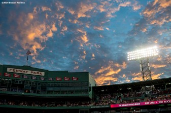 September 9, 2016, Boston, MA: The sun sets over the Facade as Kid Rock performs during a concert at Fenway Park in Boston, Massachusetts Friday, September 9, 2016. (Photo by Billie Weiss/Boston Red Sox)