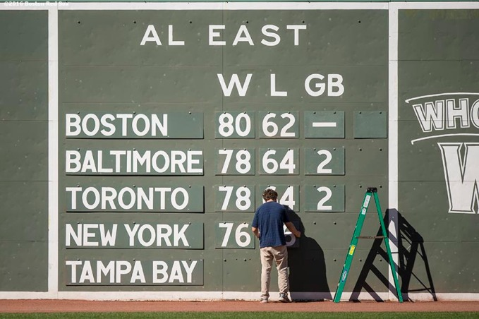 BOSTON, MA - SEPTEMBER 12: The American League East division scoreboard is displayed before a game between the Boston Red Sox and the Baltimore Orioles on September 12, 2016 at Fenway Park in Boston, Massachusetts. (Photo by Billie Weiss/Boston Red Sox/Getty Images) *** Local Caption ***