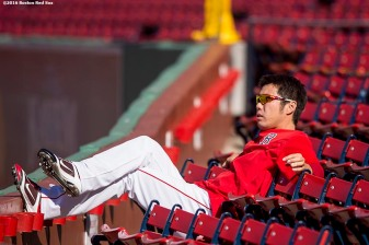 BOSTON, MA - SEPTEMBER 12: Koji Uehara #19 of the Boston Red Sox sits in the stands before a game against the Baltimore Orioles on September 12, 2016 at Fenway Park in Boston, Massachusetts. (Photo by Billie Weiss/Boston Red Sox/Getty Images) *** Local Caption *** Koji Uehara