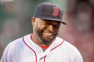 BOSTON, MA - SEPTEMBER 12: David Ortiz #34 of the Boston Red Sox reacts before a game against the Baltimore Orioles on September 12, 2016 at Fenway Park in Boston, Massachusetts. (Photo by Billie Weiss/Boston Red Sox/Getty Images) *** Local Caption *** David Ortiz