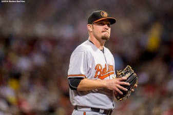 BOSTON, MA - SEPTEMBER 12: Wade Miley #38 of the Baltimore Orioles reacts after exiting the game during the second inning of a game against the Boston Red Sox on September 12, 2016 at Fenway Park in Boston, Massachusetts. (Photo by Billie Weiss/Boston Red Sox/Getty Images) *** Local Caption *** Wade Miley