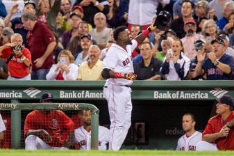 BOSTON, MA - SEPTEMBER 12: David Ortiz #34 of the Boston Red Sox gives a curtain call after hitting a solo home run during the sixth inning of a game against the Baltimore Orioles on September 12, 2016 at Fenway Park in Boston, Massachusetts. It was the 536th home run of his career, moving him into a tie with Mickey Mantle for 17th place on the all time home run list. (Photo by Billie Weiss/Boston Red Sox/Getty Images) *** Local Caption *** David Ortiz