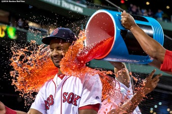 BOSTON, MA - SEPTEMBER 12: Chris Young #30 of the Boston Red Sox is given a Powerade shower following a game against the Baltimore Orioles on September 12, 2016 at Fenway Park in Boston, Massachusetts. (Photo by Billie Weiss/Boston Red Sox/Getty Images) *** Local Caption *** Chris Young