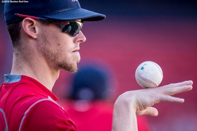 BOSTON, MA - SEPTEMBER 13: Clay Buchholz #11 of the Boston Red Sox balances a ball on his hand before a game against the Baltimore Orioles on September 13, 2016 at Fenway Park in Boston, Massachusetts. (Photo by Billie Weiss/Boston Red Sox/Getty Images) *** Local Caption *** Clay Buchholz
