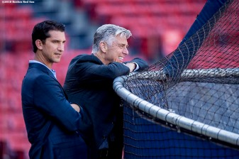 BOSTON, MA - SEPTEMBER 13: General Manager Mike Hazen and President of Baseball Operations Dave Dombrowski of the Boston Red Sox look on at batting practice before a game against the Baltimore Orioles on September 13, 2016 at Fenway Park in Boston, Massachusetts. (Photo by Billie Weiss/Boston Red Sox/Getty Images) *** Local Caption *** Dave Dombrowski; Mike Hazen