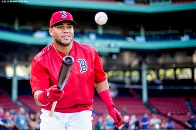 BOSTON, MA - SEPTEMBER 13: Yoan Moncada #65 of the Boston Red Sox bounces a ball off his bat before a game against the Baltimore Orioles on September 13, 2016 at Fenway Park in Boston, Massachusetts. (Photo by Billie Weiss/Boston Red Sox/Getty Images) *** Local Caption *** Yoan Moncada